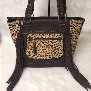 Montana West Leopard HairOn Fringe Handbag Leather